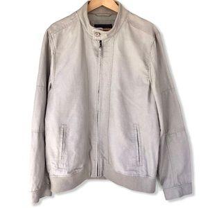 RW&CO   Linen/Cotton Blend Zip-Up Bomber   Large